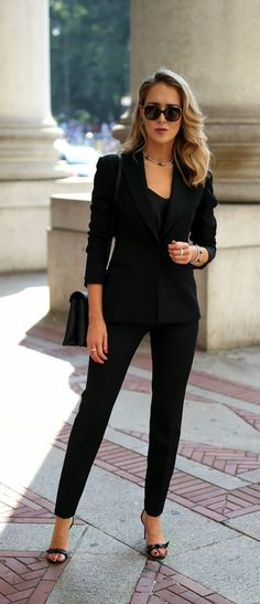 Day To Night With Lagos // Satin-trimmed blazer, black silk camisole, black tuxedo pants, black ankle strap sandals, Lagos jewelry, black purse {Lagos, day to night, classy dressing}