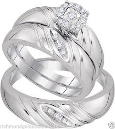 White Gold His Her Men Woman Diamond Pave Wedding Ring Bands Trio Set (0.20ct. tw)- RG221373852748