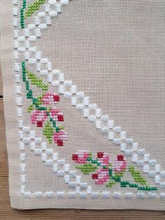 Lovely floral cross stitch embroidered tablecloth in linen from Sweden - Hardanger & ponto reto Cross Stitch Bookmarks, Cross Stitch Borders, Cross Stitch Rose, Cross Stitch Designs, Cross Stitch Patterns, Hardanger Embroidery, Cross Stitch Embroidery, Hand Embroidery, Crochet Lace Edging