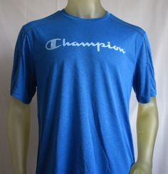 Champion Mens Vapor PowerTrain Short Sleeve T Shirt Blue Large  #Champion #BasicTee