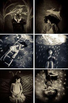 "Laura Burlton ""Chalk Dreams"" chalkboard photo idea children photography fantasy stars black and white"