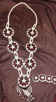 Navajo Indian Wedding Basket Beadwork Beaded 7 Medallion Necklace Barrette   eBay
