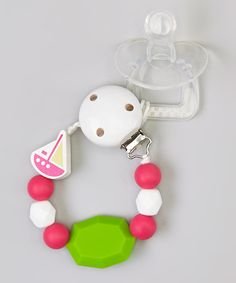 Look at this Pink & Chartreuse Sail Away Teething Pacifier Clip on #zulily today!