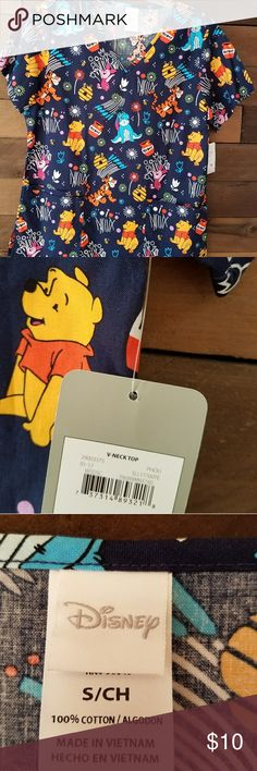 Scrubs New with tags.  Brightly colored nursing scrubs. Pockets on left and right side. Disney Tops