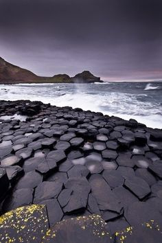 The natural basalt columns at The Giant's Causeway in County Antrim, Ireland
