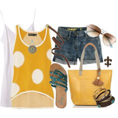 """""""Yellow Dotted Tank"""" by hatsgaloore on Polyvore  #brahmin"""