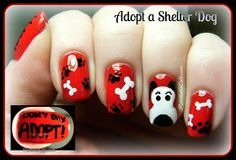 Pointless Cafe: Adopt a Shelter Dog - Nail Art and Doggie Spam! Great nails and great cause! Dog Nail Art, Animal Nail Art, Dog Nails, Animal Nail Designs, Nail Polish Designs, Cool Nail Designs, Paw Print Nails, Gothic Nails, Crazy Nail Art