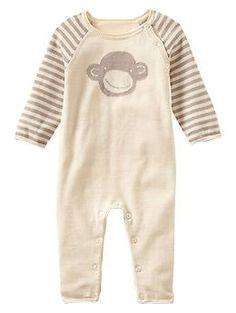 Intarsia monkey sweater one-piece. Baby Gap