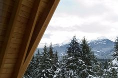 An A-frame cabin, with an exposed frame of local douglas fir, was designed for a family of snowboarders who longed for a weekend retreat in Whistler.