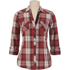 Embroidered Plaid Button Up Shirt ❤ liked on Polyvore