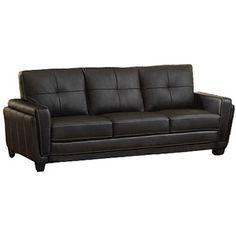 Furniture of America Blacksburg Leatherette Sofa, Black