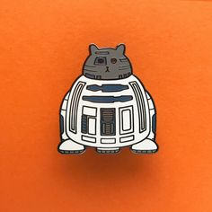 R2D2 Pin - Star Wars Enamel Badge - Lapel Pin - Cat brooch - Fat Kitty - White Cat Brooch - Cat Pin - Cat Droid pin - Hard Enamel Cat Brooch by thenosuchdisco on Etsy https://www.etsy.com/uk/listing/484440472/r2d2-pin-star-wars-enamel-badge-lapel