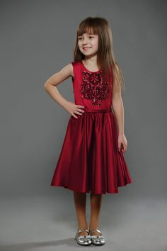 RED SATIN DRESS FOR LITTLE PRINCESS