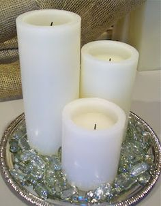 SUPER easy and CHEAP flameless candle centerpiece!  #wedding #centerpiece #flameless candle