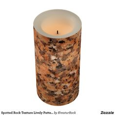 Spotted Rock Texture Lively Pattern Orange Black Led Candle