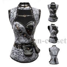 Grau Brokat Steampunk Korsett Zahnräder Mit Bolero neu Kult Halloween-Kostüm