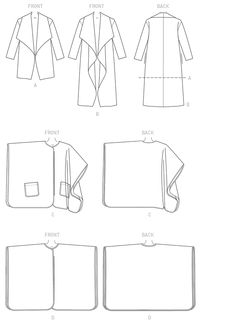 Sewing Pattern for Misses' Shawl Collar Jacket, Coat and Snap Closure Wraps, Butterick Pattern Women's Coats, Plus Sizes Available Coat Pattern Sewing, Coat Patterns, Sewing Patterns, Sewing Ideas, Sewing Projects, Flat Drawings, Flat Sketches, Collar Pattern, Jacket Pattern