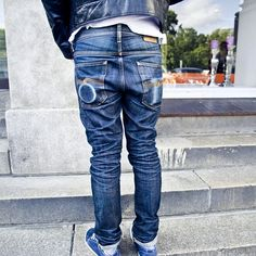 Bryce wearing his Grim Tim Dry Selvage jeans and Johnny Leather jacket. Both used and abused without washing. Start your own Dry Journey today. #NudieJeans #100percentorganic