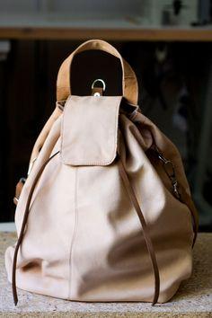 Duży plecak- torba z delikatnej, kremowej skóry.#backpack #leather_backpack