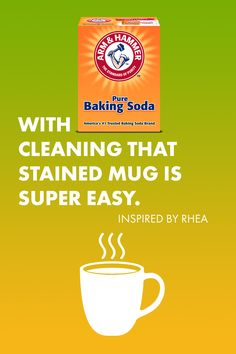 Coffee stains on mugs can be tough, but it's nothing a little bit of baking soda and hot water can't clean. Diy Home Cleaning, Homemade Cleaning Products, Household Cleaning Tips, Cleaning Recipes, House Cleaning Tips, Natural Cleaning Products, Spring Cleaning, Cleaning Hacks, Grill Cleaning