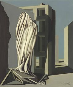 Kay Sage (American, 1898-1963), The Seven Sleepers, 1947. Oil on canvas, 18 x 15 in.