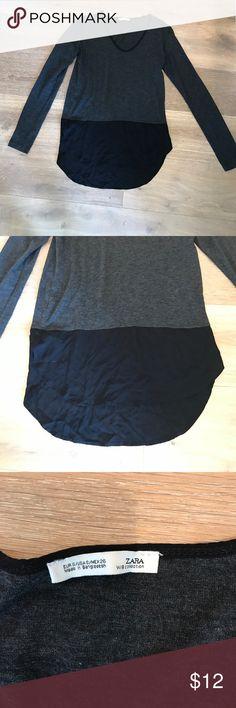 Gray and black Zara long sleeve blouse Dark grey  long sleeve Zara blouse with sheer black bottom. Zara Tops Blouses