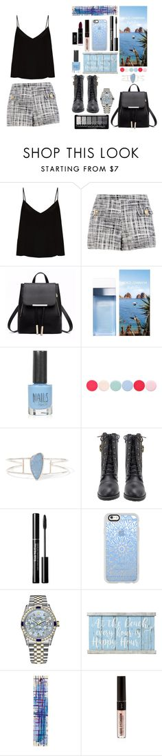 """""""Black & Blue, For You"""" by alwaysroyal on Polyvore featuring Raey, Boutique Moschino, Dolce&Gabbana, Topshop, Nails Inc., Melissa Joy Manning, Casetify, Rolex, Belle Maison and NOVICA"""