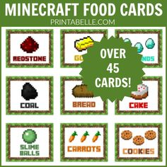 This set of Minecraft tented party food cards comes with <strong>12 pages of cards</strong> and will be emailed to you within 24 hours of purchase! They are redstone, gold, TNT, diamonds, coal, cake, golden apples, bread, slime balls, cookies, carrots, raw and cooked fish, watermelon, water, cow, sticks, potato, berries, emerald, potion, lazuli, steak, stone, obsidian, lava, sand, wood, dirt, trees, trapdoor, mushroom, egg, red apples, chicken, cucumber, iron, torches, melon...