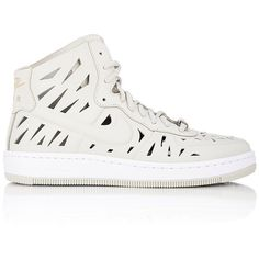 Nike Air Force 1 Ultra Force Mid Joli Sneakers (€115) ❤ liked on Polyvore featuring shoes, sneakers, white, white flat sneakers, white sneakers, leather shoes, white trainers and white flat shoes