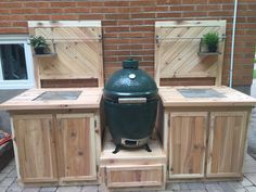 66 Ideas Backyard Bbq Setup Big Green Eggs For 2019 Big Green Egg Outdoor Kitchen, Big Green Egg Table, Big Green Egg Grill, Diy Outdoor Kitchen, Green Eggs, Outdoor Cooking, Outdoor Kitchens, Outdoor Grill Island, Bbq Island