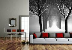 'Winter Tree Archway' wall mural by Mabel Forsyth available at wallpapered.com