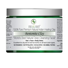 """Pure Premium Natural Indian Healing Clay""""Word's Best Natural Deep Cleansing Facial""""Hair + Face + Body DetoxExcellent for Oily Skin &amp. Deep Cleansing Facial, Indian Healing Clay, Aloe Vera Skin Care, Bentonite Clay, Skin Tightening, Facial Skin Care, Oils For Skin, Skin Care Regimen, Good Skin"""