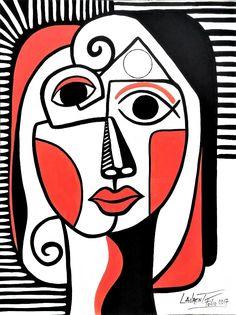 Painting, Acrylic by Laurent Folco (France) via Kunst Picasso, Picasso Art, Abstract Face Art, Cubist Art, Portrait Art, Online Art Gallery, Watercolor Art, Graphic Art, Modern Art