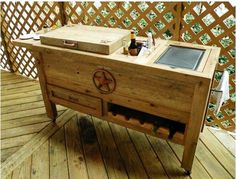 Amazon.com : Outdoor Patio Cooler Bar - Wooden Rustic Kitchen Furniture - Grilling Prep Station on Roller Wheels - Wine Storage, Beer Bottle Opener, Towel Rack, Cutting Board Accessories - Handmade Eclectic Decor : Patio, Lawn & Garden