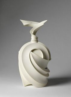 Takashi Ikura, Japan 2008. At the Victoria & Albert Museum. Vessel and stopper, carved and polished unglazed semi-porcelain. Museum Number FE.91-2011.