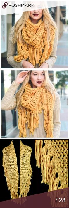 "TS Thick Soft Chunky Mustard Yellow Triangle Scarf ‼️ PRICE FIRM UNLESS BUNDLED WITH OTHER ITEMS FROM MY CLOSET ‼️   Chunky Triangle Scarf  Retail $56  I ABSOLUTELY LOVE THIS! So soft & warm!  100% acrylic. 23 by 58"".  Please check my closet for many more items including jewelry, shoes, handbags designer clothing & more! Accessories Scarves & Wraps"