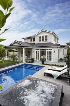House exterior view of my Hamptons style home featuring shingled roof and grey weatherboards. Gallerie B Interiors House Colors, Hamptons House, Farmhouse Design, Beach Cottage Style, Hamptons Beach House, Hamptons Style Homes, Cottage Style, Hamptons House Exterior, House Exterior