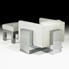 Paul Evans; Chromed Steel and Leather 'Cityscape' Lounge Chair and Ottoman for Directional, 1970s.
