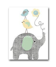 INSTANT DOWNLOAD Art Bird Elephant Nursery Print Baby Boy Nursery Art Digital Art Printable Art Digital Download 8x10 11X14 Gray Yellow Blue
