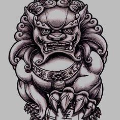 Bilderesultat for feng shui fu dog painting Badass Tattoos, Dog Tattoos, Small Tattoos, Sleeve Tattoos, Tatoos, Foo Dog Tattoo Design, Japan Tattoo Design, Tattoo Designs, Spartan Tattoo