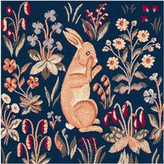 Tapestry Cushions & Slipcovers - Woven in France History: Medieval Rabbit Upright, or Lapin Debout, is woven in the jacquard style. This European tapestry panel is a small extract of The Lady a