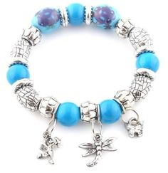 Ladies Silver with Blue Beaded Spacers with Three Charms Stretch Bracelet JOTW. $0.01. 100% Satisfaction Guaranteed!. Great Quality Jewelry!