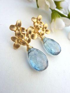 Teal Blue Quartz Golden Cherry Blossom Flower Post Earrings
