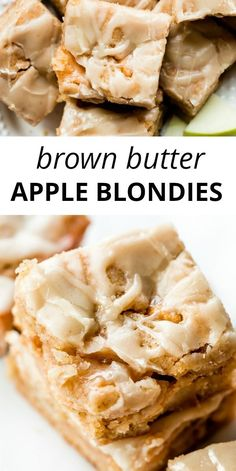 Soft, buttery, and chewy apple blondies made with brown butter, sautéed cinnamon apples, and delicious brown sugar. Top with brown butter icing for the perfect Fall dessert. Recipe on sallysbakingaddi Cinnamon Desserts, Köstliche Desserts, Delicious Desserts, Yummy Food, Cinnamon Apples, Desserts With Apples, Desserts Faciles, Spiced Apples, Health Desserts