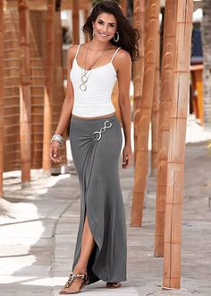 Surplice Maxi Skirt from VENUS women's swimwear and sexy clothing. Order Surplice Maxi Skirt for women from the online catalog or Denim Fashion, Trendy Fashion, Boho Fashion, Fashion Outfits, Womens Fashion, Mode Hippie, Bohemian Mode, Mode Outfits, Skirt Outfits