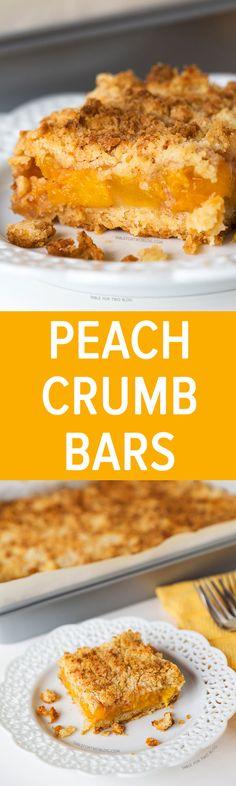 Peach Crumb Bars   tablefortwoblog.com