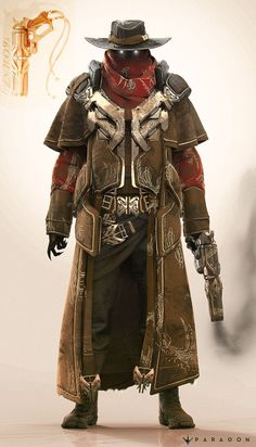"""Steampunk male concept art character design inspiration for games, male character in a hat, steampunk bountyhunter, fantasy Concept art I did for Paragon's new character """"Revenant"""" Steampunk Characters, Dnd Characters, Fantasy Characters, Fantasy Character Design, Character Design Inspiration, Character Art, Jhin League Of Legends, Rpg Cyberpunk, Concept Art Tutorial"""