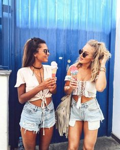 Perfect summer - ice cream, short denim shorts, and crop tops.