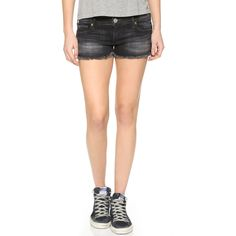 True Religion Joey Cutoff Shorts ($170) ❤ liked on Polyvore featuring shorts, authentic black, cut-off, cut off shorts, black frayed shorts, black shorts and black cutoff shorts