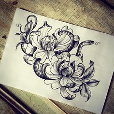 Tattoo artist miss Sita follow on Instagram @misssita  Snake peonies illustration